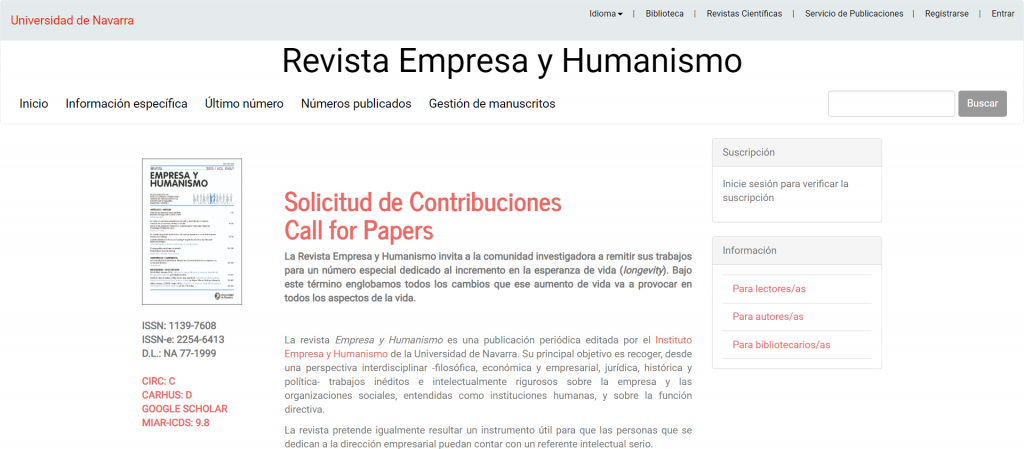 Revista empresa y humanismo
