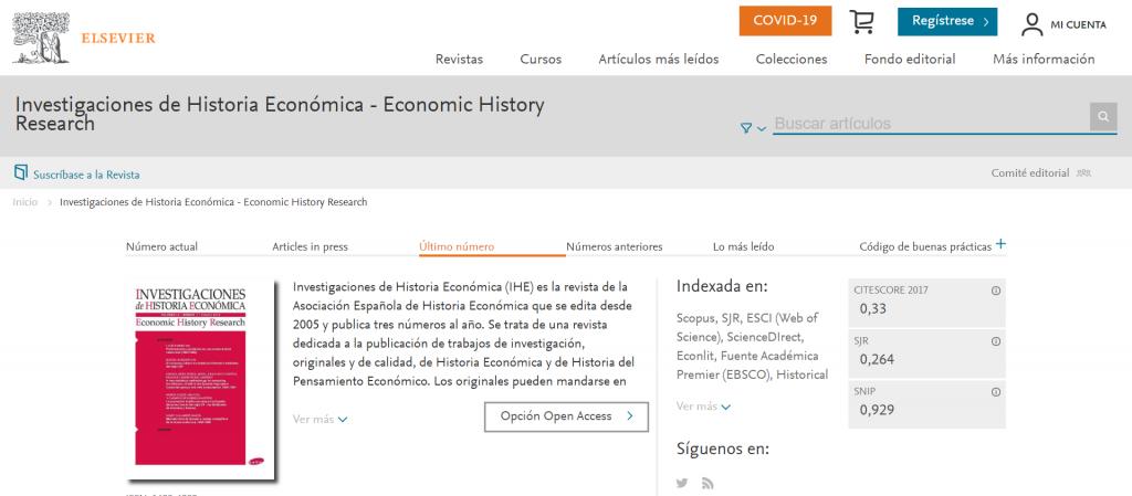 Investigaciones de Historia Económica - Economic History Research